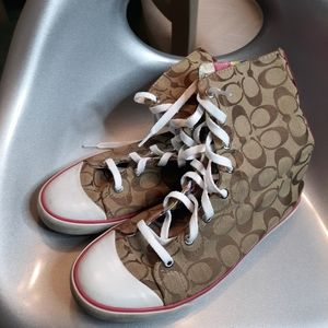 Coach canvas high top sneakers